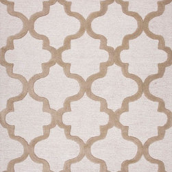 Jaipur Rugs - Hand-Tufted Geometric Pattern Wool Ivory/Taupe Area Rug - Over scaled sharp geometrics characterize this striking contemporary range of  hand tufted rugs. The high/low construction in wool and art silk creates texture and surface interest and gives a look of matt and shine. Origin: India