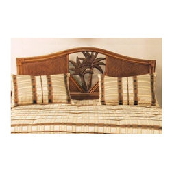 Hospitality Rattan - Cancun Palm Twin Headboard in Antique Finish - Choose Size: TwinPalm tree accents and an arched top bring an element of elegance to this island inspired headboard, a perfect way to celebrate the spirit of the beach in your home no matter where you live. The headboard is constructed of woven wicker and is available in your choice of sizes and finishes. This product is warranted for indoor use. Made of Wood Frame and Woven Wicker. Traditional wicker twin headboard. Durable, yet elegant construction and matches Cancun Palm Seating, Dining, Bar Stool Items as well. Fully assembled. Wood frame construction. Coordinates with other bedroom pieces from the Cancun Palm collection. Tropical island style design with palm tree decor. Antique finish. Twin: 43 in. W x 2 in. D x 50 in. H (17 lbs.). Queen: 65 in. W x 2 in. D x 50H (35 lbs.). King: 83 in. W x 2 in. D x 50 in. H (50 lbs.)This Cancun Palm bedroom collection is one of our exclusive and largest collections of fine rattan and herringbone wicker weaving. That has a fiber palm tree castings design. The woven leather bindings used throughout Cancun Palm ensures its durability and quality for many years of use. It enhances the tropical look in any bedroom room. The selection of two finishes help compliment any room decor. In addition metal glides are used on all the case good pieces along with glass which is included on the Cancun Palm Collection.