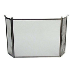 """Enclume - Premier Rolled End Fireplace Screen Hammered Steel - Dimensions: 56""""W x 28""""H x 1""""D; Center 36""""W; Sides 10""""W"""