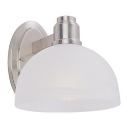 Z-Lite - Z-Lite 314-1S Chelsey 1 Light Wall Sconce - With large, bold chrome or brushed nickel detailing and a warm glowing white swirl shade, this wall sconce is a testament to modern simplicity. For added versatility, this fixture can be hung as an up light or a down light.Specifications: