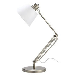 """Slim Desk Lamp with White Shade - Bright white shade illuminates classic steel task light with a clean aesthetic. Sleek design in brushed nickel finish directs light where you need it with spring and tension control and a swivel arm that extends up to 24""""."""