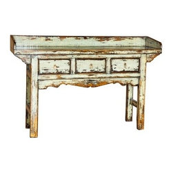 Make Your Home Sing! - This rustic-farm chic console table will greatly complement an Old World style décor besides being an option for storing and displaying home accessories.