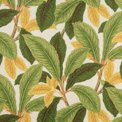 Green And Gold Floral Leaf Indoor Outdoor Marine Upholstery Fabric By The Yard - This upholstery grade fabric can be used for all indoor and outdoor applications. It is Scotchgarded, and is mildew, fade, water, and bacteria resistant. This fabric is made in America!
