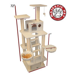 "Majestic Pet - 72"" Bungalow Sherpa Cat Tree - Features: -Covered in elegant Faux Sheepskin with Sisal Rope wrapped posts that will withstand the toughest claws.-Fourth story residence, a ladder, two nests, two high perches and a dangly mouse.-Assembles in minutes with simple step by step instructions and tools provided.-Cleans easily with a vacuum and damp cloth.-Also available in Faux Fur.-Distressed: No.-Country of Manufacture: United States.Dimensions: -Overall Dimensions: 72'' H x 29'' W x 42'' D.-Overall Height - Top to Bottom: 72.-Overall Width - Side to Side: 29.-Overall Depth - Front to Back: 42.-Overall Product Weight: 65 lbs."