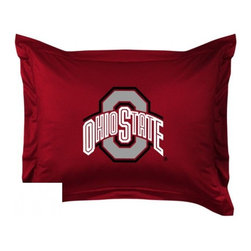 Sports Coverage - Ohio State Buckeyes Locker Room Collection Pillow Sham - Show your team spirit with this officially licensed 25 x 31 Ohio State Buckeyes sham. There is a 2 flanged edge that decorates all four sides of each Ohio State NCAA sham. Made of 100% polyester jersey mesh, just like the players wear, with screen printed Ohio State Buckeyes logo in the center. Envelope closure in back. Fits standard pillow. Coordinates with Ohio State Locker Room Collection. 3 overlapping envelope closure is on back.