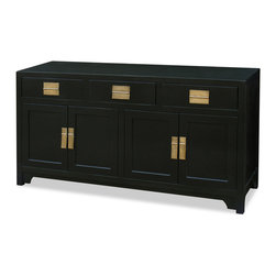 China Furniture and Arts - 58in Elmwood Ming Sideboard - Distinct in its simple clean lines, our Elmwood sideboard is a fine example of Ming furniture style. It provides ample storage as well as visual appeal. One removable shelf behind the two double doors for your storage convenience. Three spacious drawers are constructed of dovetailed joints for long lasting durability. Hand applied black ebony finish with hand forged gold brass Ming hardware decorate the entire unit. Perfect as a sideboard for the dining room, dresser in the bedroom or media cabinet for the living room (cable outlets can be made upon request).