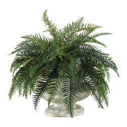 "D&W Silks - Artificial River Fern in Large Garden Urn - It's amazing how much adding a plant can change the look of a room or decor, but it can be difficult if your space is not conducive to growing plants, or if you weren't exactly born with a ""green thumb."" Invite the beauty of nature into your home without all the upkeep with this maintenance-free, allergy-free arrangement of artificial river fern in a large garden urn. This is not a living plant."