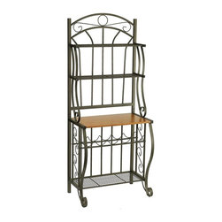 Old Dutch International - 68 in. Steel Bakers Rack w Wine Rack - Wood finished particle board counter to display plants and picture frames. Two upper display shelves. Large bottom shelf. Five bottle wine rack. Made from powder coated steel. Copper color. Minimal assembly required. 27.5 in. W x 16 in. D x 68 in. H (29.6 lbs.)