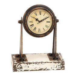 ecWorld - Antique-Style Weathered Miniature 12-inch Spotlight Mantle Clock - This handsome clock offers timeless charm, while keeping you on time. Wooden base with an aged finish. Crystal-encased round dial features Roman numeral indices; it is the perfect piece to set on your mantel, dresser or shelf.