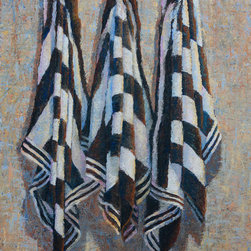 """Black and White Towels - This original oil painting is 40"""" x 30"""" oil on canvas.  Artist LC Neill.  There is a lot of color in this piece even though it's primarily black and white."""