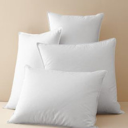 Garnet Hill - Garnet Hill Signature White Goose Down Pillow - King - Luxurious white goose down, now in three densities. Offered in Soft, Medium, or Firm to best suport all sleeping positions. Part of our Signature Bedding Essentials Collection. Designed to work with the Garnet Hill Channeled White Goose Down Comforter.  Comfortably cradles the natural curvature of the spine to position and support the head and neck  Filled with superior-quality European white goose down (650 fill power). Self-piped edges.