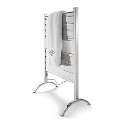 Frontgate - Heated Towel Warmer - Warm up two towels quickly or run continuously. Uses just a little more energy than a traditional light bulb. Includes 7 ft. cord. Great for drying delicates, hand-washables, and swimwear, and for warming baby blankets and bedding (place items on top of a towel on the warmer). Saves on unnecessary laundry loads. Outperforming ladder or zigzag-style tubing that heats and dries unevenly, our Heated Towel Warmer boasts flat aluminum panels that allow for more surface contact and better heat distribution. Constructed of solid aluminum, it draws moisture away during humid months, reduces musty smell, and eliminates mold and mildew growth.  . .  .  . .  .  . Uses Filatherm dry heating element to give years of maintenance-free and energy-efficient heat . Constructed of solid aluminum with a chrome-plated finish . Reaches optimal temperature in just 20 minutes (without a towel in place) . Features illuminated power switch . One year manufacturer's warranty . Minimal assembly required .