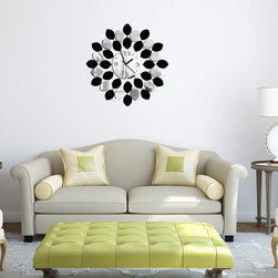 Silver Mixed Black Leaves  Wall Clock - Package Include: