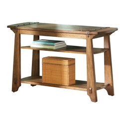 Steve Silver Company - Steve Silver Company Harrison Sofa Table in Oak Finish - Steve Silver Company - Sofa Tables - HS300S - A mix of wood and metal offer a strong and sturdy table with a rustic feel.