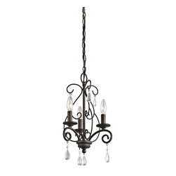 Kichler - Kichler Marcele 3-Light Olde Bronze Up Mini Chandelier - 43446OZ - This 3-Light Up Mini Chandelier is part of the Marcele Collection and has an Olde Bronze Finish.