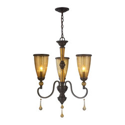 World Imports - Amber Marie 3-Light Chandelier with Glass Shade, Oil Rubbed Bronze - All metal construction with a bronze finish