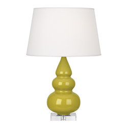 "Robert Abbey - Contemporary Robert Abbey Citron Triple Gourd Ceramic Table Lamp - This alluring tapered triple-gourd ceramic table lamp will brighten your decor with its elegant contemporary style. Finished in a cool citron glaze with a square clear Lucite stand below that plays off the soft pearl dupioni fabric shade on top. A beautiful Robert Abbey lamp that will enhance your home for years to come. Triple-gourd contemporary table lamp. Cool citron finish. Square Lucite base. Ceramic construction. Hardback pearl dupioni fabric shade. Polished nickel finish metal accents. Made in U.S.A. Takes one maximum 150 watt or equivalent 3-way bulb (not included). 24"" high. Shade is 12 3/4"" across the top 16"" across the bottom and 10"" high. Base is 5 1/2"" square and 1"" high.       Triple-gourd contemporary table lamp.  Cool citron finish.  Square Lucite base.  Ceramic construction.  Hardback pearl dupioni fabric shade.  Polished nickel finish metal accents.  Made in U.S.A.  Takes one maximum 150 watt or equivalent 3-way bulb (not included).  24"" high.  Shade is 12 3/4"" across the top 16"" across the bottom and 10"" high.  Base is 5 1/2"" square and 1"" high."