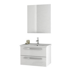 ACF - 24 Inch Glossy White Bathroom Vanity Set - Set Includes: Vanity Cabinet (2 Drawers), high-end fitted ceramic sink, wall mounted vanity mirror.
