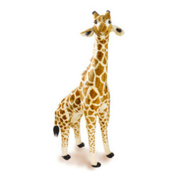 """Large plush giraffe - Chasing Fireflies - Set this graceful creature free to roam your party. Kids love its silky soft fur and mane, and at 51"""" x 19"""" x 10"""", they'll be wowed by the height, too. A sturdy inner frame helps it stand."""