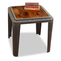 Kathy Kuo Home - Taloro Industrial Antique Side End Table - Sometimes you need a table that can handle anything you throw at it, and here it is. Constructed from industrial antique iron and wood, with hammered metal grommets making it factory-grade sturdy, you can walk in the door of your urban loft and dump your bag, laptop, coat -- even yourself -- on top of it, without a worry.