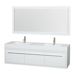 "Wyndham Collection - Axa 72"" DBL Bathroom Vanity in White, Acrylic Resin Top, Int. Sinks, 70"" Mirror - The bold, ultra-modern and visually stunning design of the Axa wall-hung vanity makes a powerful statement while incorporating generous counter space and storage for bath items. The one-of-a-kind styling ensures a high-end look at a very reasonable price and brings an element of contemporary sophistication to a fabulous bathroom remodel. Satin Chrome accents finish the look - It's quite remarkable, and all the more so in person."