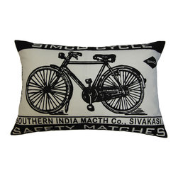 "KOKO - Match Co. Pillow, Bicycle Print, Ecru/Black, 13"" x 20"" - Classic bicycle images are popping up everywhere. This one is so charming and sweet. The simple black and white graphic would surely complement your sofa or side chair."
