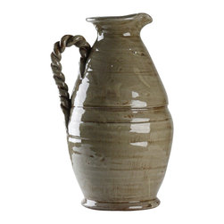 Zentique - Olivia Vase - The Olivia Vase features an oinochoe inspired style with a pulled, rope like handle. For decorative purposes only.