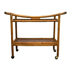 Pre-owned Mid-Century Rattan Bar Cart - Bottoms up! This 1950s-1960s rattan bar cart is completely original with two removable wood grain formica panels. This funky vintage bar cart can be used anywhere, or rolled from room to room. It's a great size for holiday entertaining, or could also be used as a media center or for storage in a bathroom, kitchen or dining room.