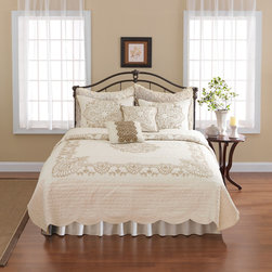Nostalgia Home Nicola Quilt, Ivory - A crocheted ivory and gray coverlet will give your room a touch of romance.