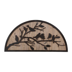 Perching Birds Wall Art - Plaque Features Rustic, Bronze Metal Details Over A Lightly Stained Wood Background.