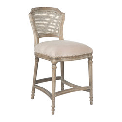 Kathy Kuo Home - Camilla French Country Washed Ribbed Taupe Linen Counter Stool - In the language of classic French country decor, the cane back upholstered chair is one of the most eloquent and popular ways to achieve that essential balance between formal and relaxed style. Upholstered in a light ribbed linen and gently distressed, this comfortable counter stool chair is lovely when placed at a counter table.