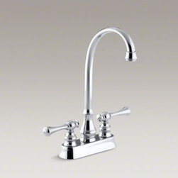 KOHLER - KOHLER Revival(R) two-hole centerset bar sink faucet with traditional lever hand - This Revival bar sink faucet sets the stage for an entertainment station with classic style. The ergonomic lever handles feature a striking traditional design. A high-arch, fixed gooseneck spout allows plenty of room for tasks like preparing beverages, pr