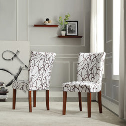 Tribecca Home - TRIBECCA HOME Chocolate Swirl Print Accent Chairs (Set of 2) - Give your space a fun update with these upholstered accent chairs. This set includes two chairs with rubberwood frames and linen upholstery. The brown swirls on a white background make a bold statement; it's an ideal addition to any decor.