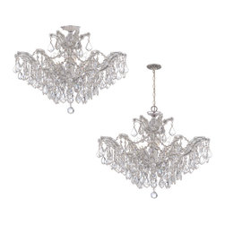 Crystorama - Maria Theresa Chandelier - Large - Nothing says luxury like hand-cut crystal, the ultimate ceiling centerpiece for your favorite formal setting. Fabulous and versatile, this impressive fixture can be installed close to the ceiling or suspended from a chain.