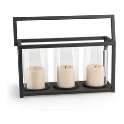 Danya B. - Triple Hurricane Candle Holder Basket - Carry this triple hurricane candelabra from the dining room out to the patio with one easy swing of the handled basket. This rustic-modern set features three cylindrical hurricanes crafted from recycled glass situated in the artfully structured basket.
