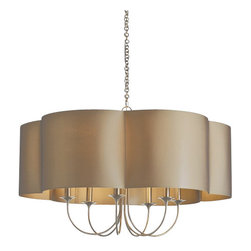 """Arteriors - Arteriors Home - Rittenhouse Large 6 Light Chandelier - 89420 - Arteriors Home - Rittenhouse Large 6 Light Chandelier - 89420 Features: Rittenhouse Collection ChandelierSteel FinishSet of 6Olive grey sheer scalloped shade with olive grey sheer liningAccepts 6 60 watt max candelabra bulbs (not included) Some Assembly Required. Dimensions: 27' H X 42"""" Dia"""