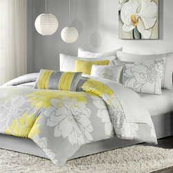 "Madison Park - Madison Park Lola Comforter Set - Lola is the perfect solution to an updated, modern print look. This comforter set features an overscaled floral print design printed on 100% cotton fabric for a super soft hand feel. The reverse of the comforter is a soft grey color that coordinates with the grey, white and yellow from the face of the comforter. The decorative pillows feature embroidery and piecing details. Features: -Set included 1 comforter, 2 king shams, 1 bedskirt and 3 decorative pillows. -Color: Grey / yellow. -Material: 100% Cotton sateen jacquard. -180 Thread count cross weave backing. -Embroidered decorative pillows. -Dimensions: 90""-104"" Height x 90""-92"" Width."