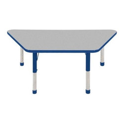 """Ecr4kids - Ecr4Kids Adjustable Activity Table - Trapezoid 30"""" X 60"""" Elr-14119-Gbl-Tb Blue - Table tops feature stain-resistant and easy to clean laminate on both sides. Adjustable legs available in 3 different size ranges: Standard (19""""-30""""), Toddler (15""""-23""""), Chunky (15""""-24""""). Specify edge banding and leg color. Specify leg type."""