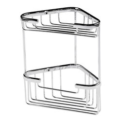 Hudson Reed - Small 2 Tier Corner Basket in Chrome Finish Bathroom Accessory - This Bathroom Accessory is a Small 2 Tier Corner Basket in a Chrome Finish. Approximate Dimensions   Height: 7.6 (194mm) Width: 6.65 (169mm) Depth: 4.5 (113mm)   Material: Brass with rust-proof chrome plating