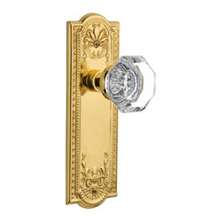 Nostalgic Warehouse - Nostalgic Meadows Plate with Waldorf Knob in Polished Brass (704374) - The polished brass Meadows Plate, with its intricate beaded detailing and botanical flourishes, creates an inspired design theme. Pair this with our Waldorf Knob, and its crisp clean edges, for a lucent look. All Nostalgic Warehouse knobs are mounted on a solid (not plated) forged brass base for durability and beauty.