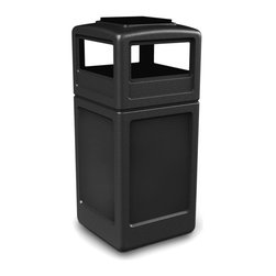 Commercial Zone - Commercial Zone 38 gal. Square with Ashtray Dome lid Commercial Trash Can - 7330 - Shop for Trash Receptacles from Hayneedle.com! The Commercial Zone 38 Gallon Square with Ashtray Dome lid Commercial Trash Can is durable enough to handle any type of high-traffic area and it's convenient for smokers too. Made from high-density polyethylene in black gray or beige it is easy to clean with a standard degreaser. The bag won't rip when removed from the 38-gallon unit thanks to the patented Grab Bag system. The lid easily lifts off for emptying the trash can. Smokers will appreciate the built-in security clips that secure the ashtray in place and deter theft. The covered dome lid allows for easy access on all four sides and discourages the placement of garbage on top of the unit. It also contains odors while keeping weather out. The unit is made from post-consumer recycled material (50% in the black unit and 25% in the beige and gray units). Ashtray size: 9.5L x 9.75W inches. Dimensions: 18.5L x 18.5W x 38.5H inches.About iTouchlessiTouchless Housewares & Products creator of the Touchless Trashcan EZ Faucet and Towel-Matic manufactures and distributes a line of innovative products for your home and office. Their mission: to make people's lives a little easier by using their products. Over the last 15 years iTouchless has established a solid foundation and assembled multiple factories in Asia to support the increasing demand of sensor-activated products. Their vision for the future is to create a continuous stream of customer-driven innovations while selecting strategic partners and distributors to form mutually beneficial relationships.