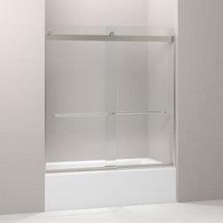 """KOHLER - KOHLER Levity Sliding Bath Door with Towel Bar and 1/4"""" Crystal Clear Glass - KOHLER K-706004-L-MX Levity Sliding Bath Door with Towel Bar and 1/4"""" Crystal Clear Glass in Matte Nickel"""