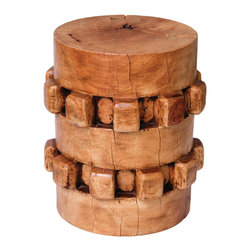 Asian Art Imports - Gear Stool - Crafted to resemble a sugar can gear, this unique stool is a hit with designers. It's made with tropical hardwood that possesses great character. Each piece is different from the next and may vary to a degree in color from what's pictured.