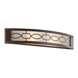 KICHLER - KICHLER 45351MIZ Punctuation Transitional Wall Sconce - When you want to add a Wow in a room, this 2 light wall sconce from the Punctuation Collection delivers. A perforated metal filigree pattern surrounds white linen glass shades, creating a unique style. The deep, rich Mission Bronze finish is set perfectly against the clean white linen glass. Can be installed horizontally or vertically. Rated for damp locations. ADA compliant.