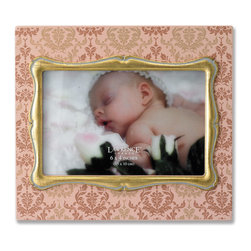 Lawrence Frames - 4x6 Ivory Wood Picture Frame with Damask Pattern and Gold Inner Frame - Fabulous  4x6 decorative ivory picture frame with gold leaf inner frame.  Ivory frame is enhanced with an elegant damask silk screened pattern.  High quality black wood backing with easel for table top display.  Individually boxed.