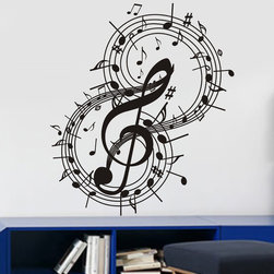 ColorfulHall Co., LTD - Personalized Wall Decals Guitar Design Music Note, Black - Personalized Wall Decals Guitar Design Music Note