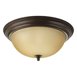 Progress Lighting - Progress Lighting P3926-20T Three-Light Close-To-Ceiling With Etched Light Topaz - Three-light flush mount with dome shaped glass, solid trim and decorative knobs.