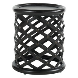Lexington - Tommy Bahama Kingstown Sedona Round Accent Table Base - This cylindrical end table has woven metal sides with a round center surface and raised perimeter frame. As such the gold highlights are handsomely reflected among the ebony finish catching on the buttoned intersections.