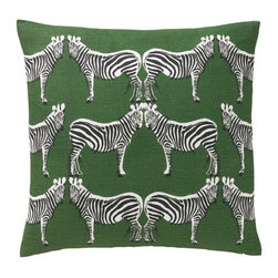 DwellStudio - Zebra Pillow - Features: -Hand printed in Lithuania on linen and cotton blend. -We reimagined iconic deco motif with some extra graphic punch.