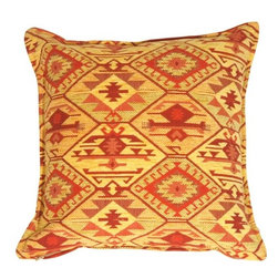Pillow Decor - Pillow Decor - Santa Fe Sunrise Pillow - Warm shades of golden yellow and burnt reds compose this classic Santa Fe style pillow. Intricately woven details create an interplay of texture with the low pile chenille. The mixture of colors and textures give this pillow instant and irresistible appeal which will bring an airy freshness to your space.